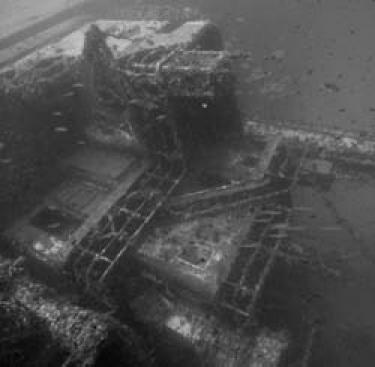 Sugar ship wreck from the front
